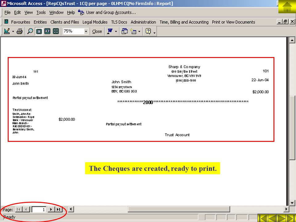 The Cheques are created, ready to print.