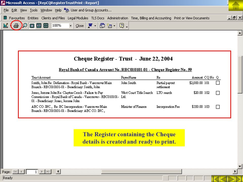 The Register containing the Cheque details is created and ready to print.