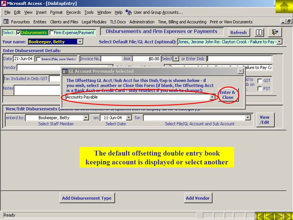 The default offsetting double entry book keeping account is displayed or select another