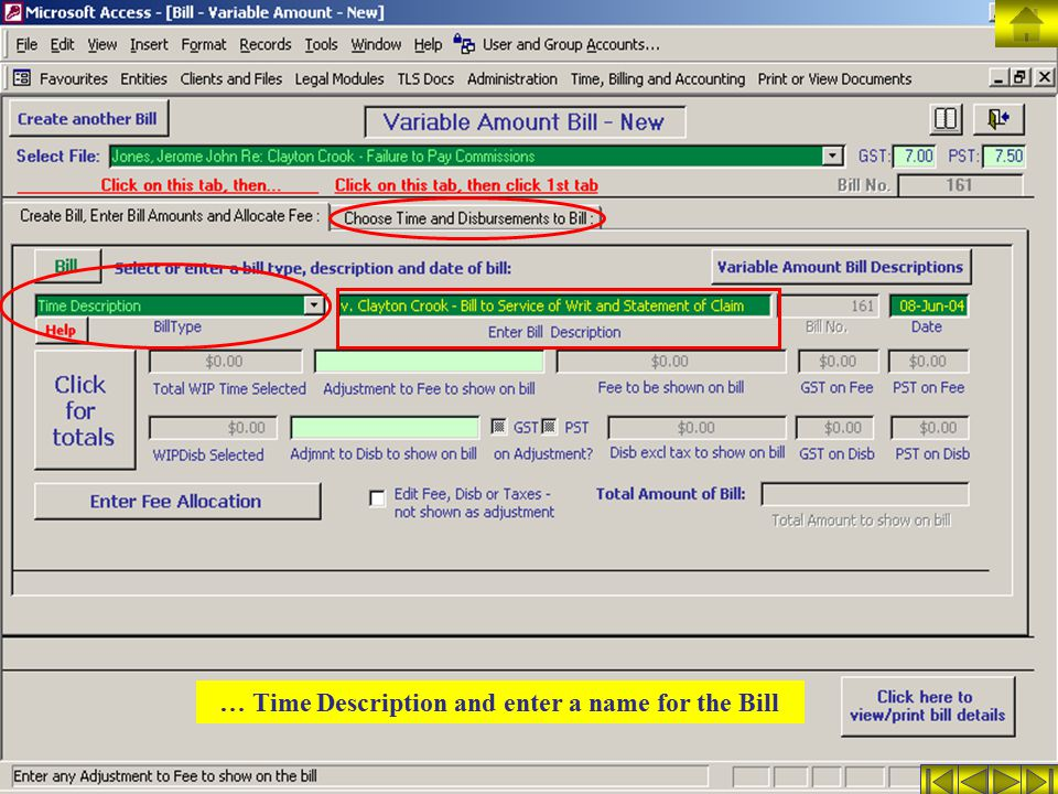 … Time Description and enter a name for the Bill