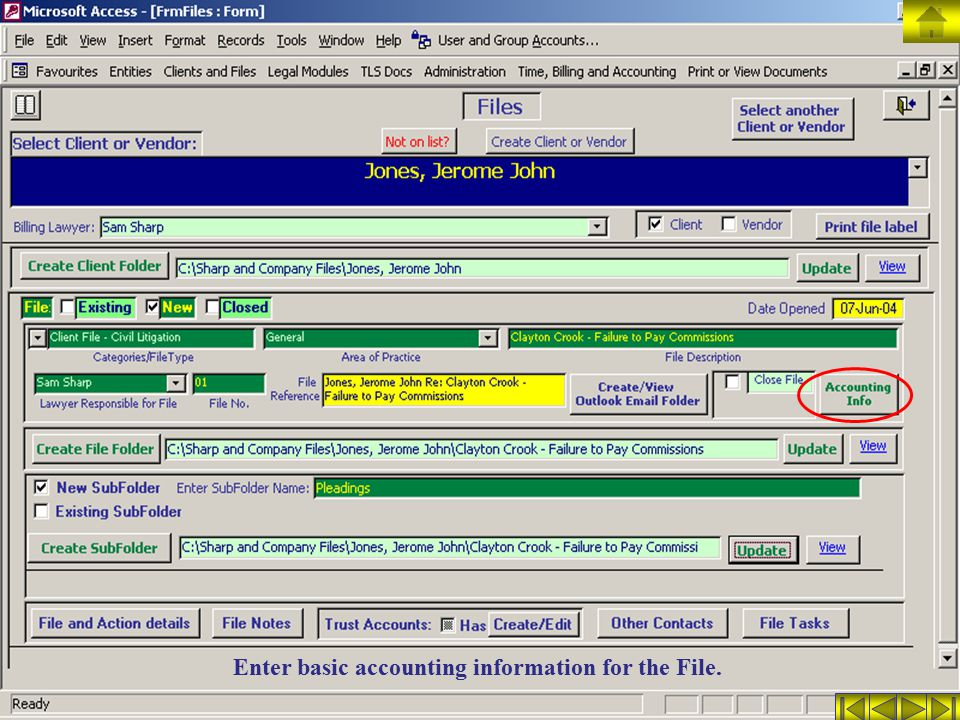 Enter basic accounting information for the File.