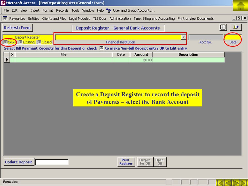 Create a Deposit Register to record the deposit of Payments – select the Bank Account