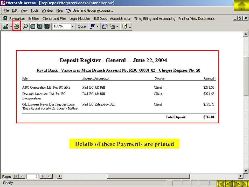 Details of these Payments are printed