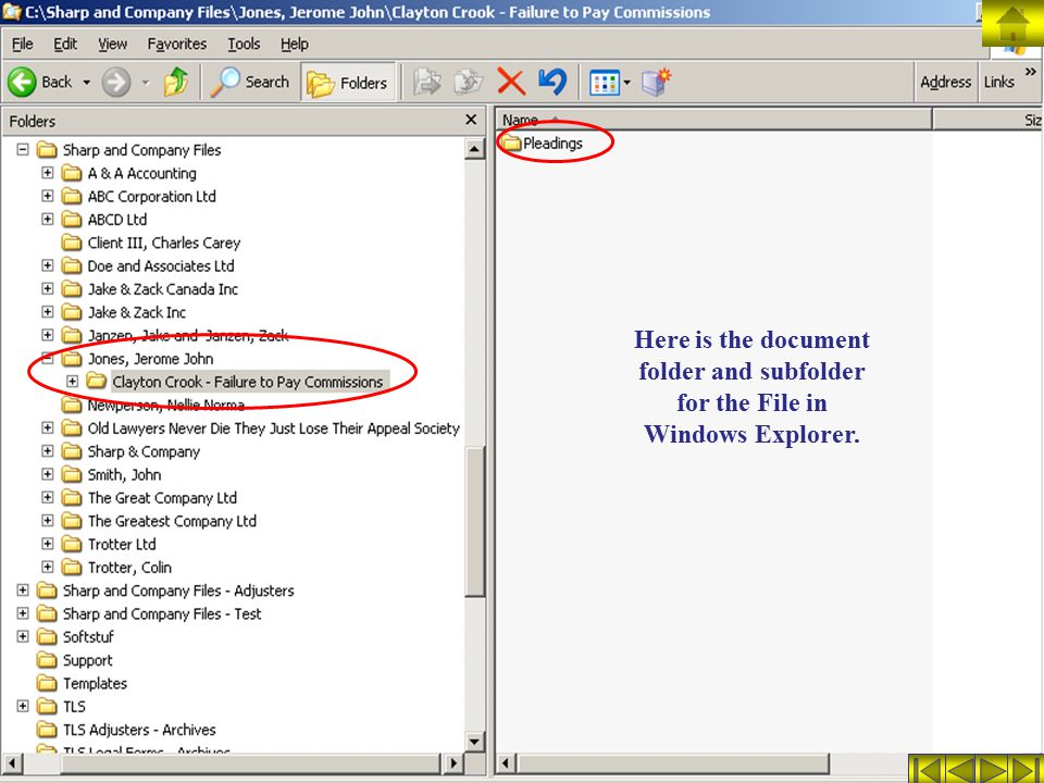 Here is the document folder and subfolder for the File in Windows Explorer.