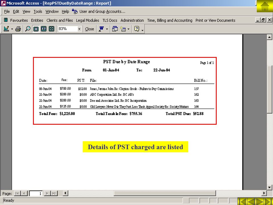 Details of PST charged are listed