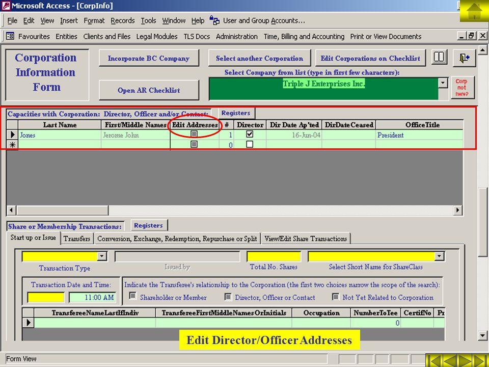 Edit Director/Officer Addresses