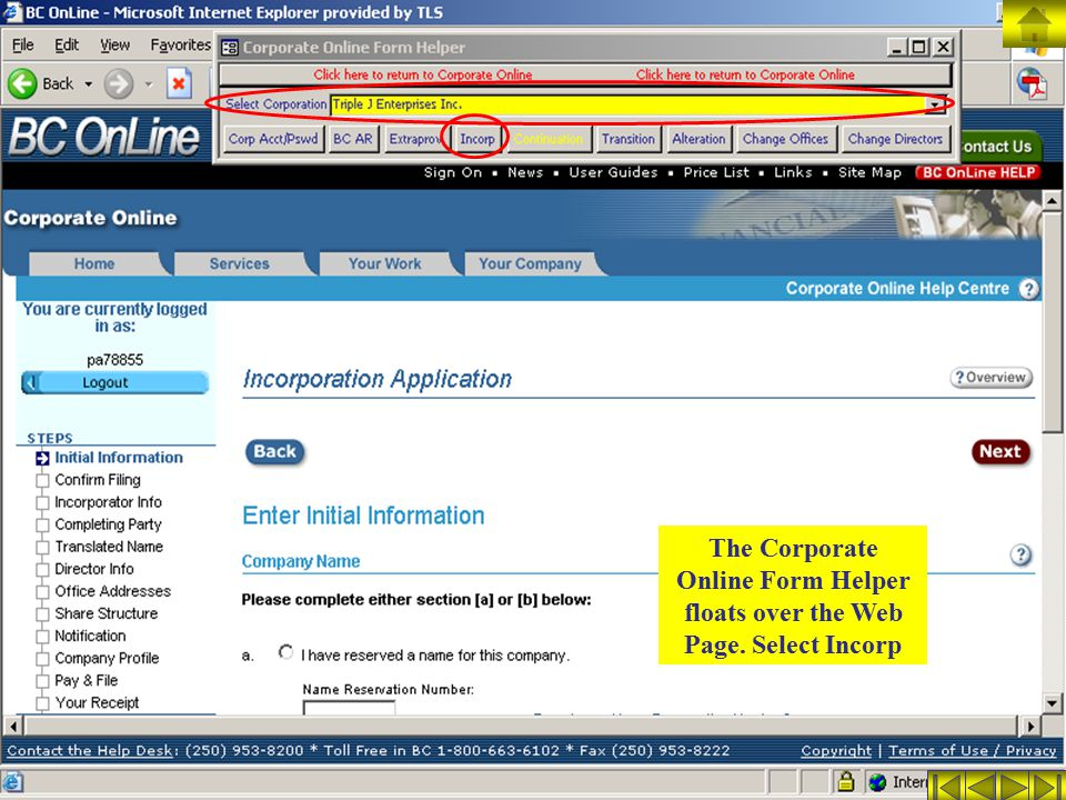 The Corporate Online Form Helper floats over the Web Page. Select Incorp
