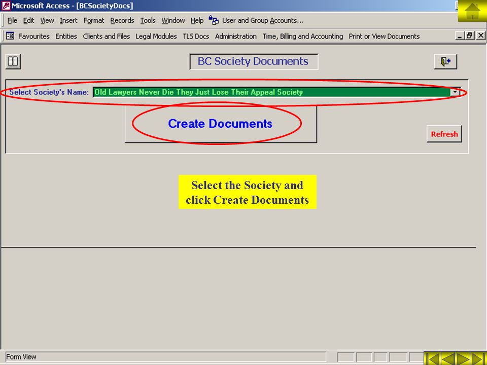 Select the Society and click Create Documents