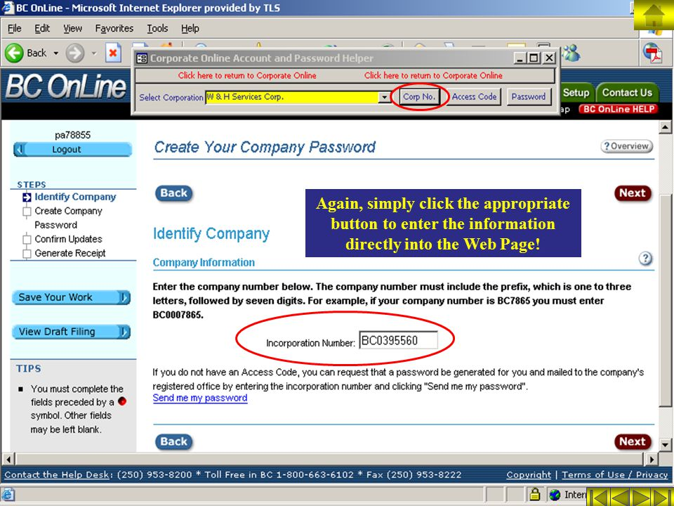 Again, simply click the appropriate button to enter the information directly into the Web Page!