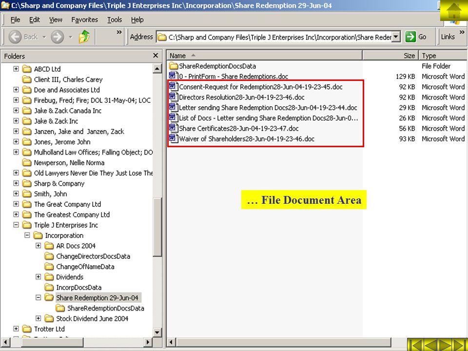 … File Document Area