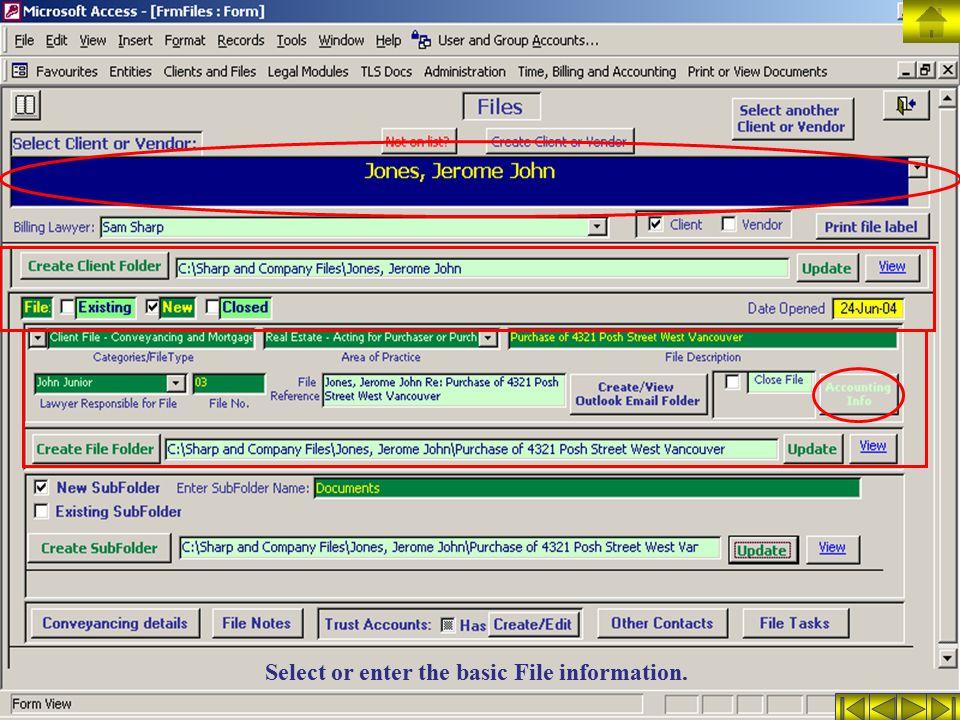Select or enter the basic File information.