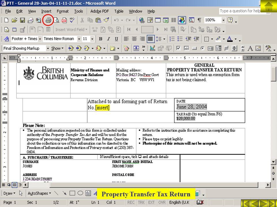 Property Transfer Tax Return