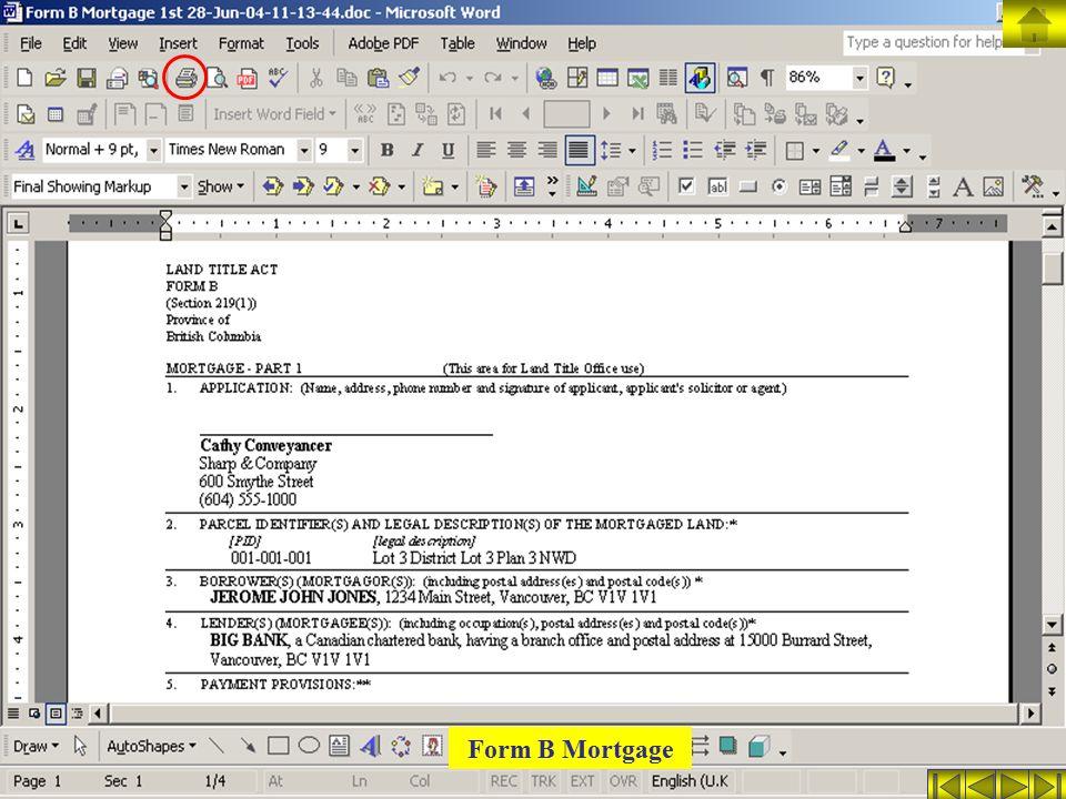 Form B Mortgage