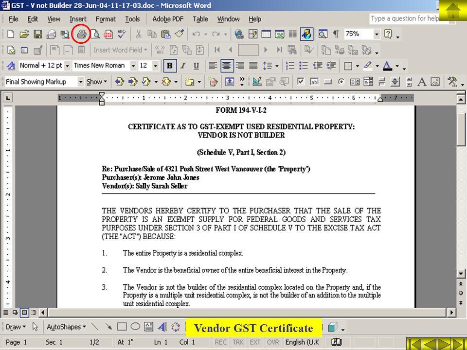 Vendor GST Certificate