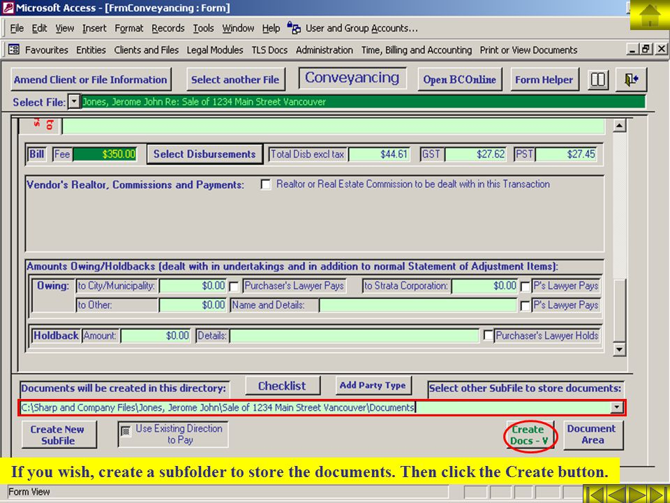 If you wish, create a subfolder to store the documents. Then click the Create button.