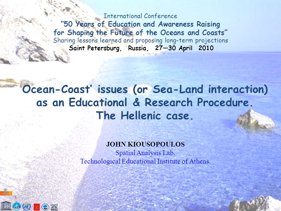 """1.1. International Conference """"50 Years of Education and Awareness Raising for Shaping the Future of the Oceans and Coasts"""" Sharing lessons learned an"""