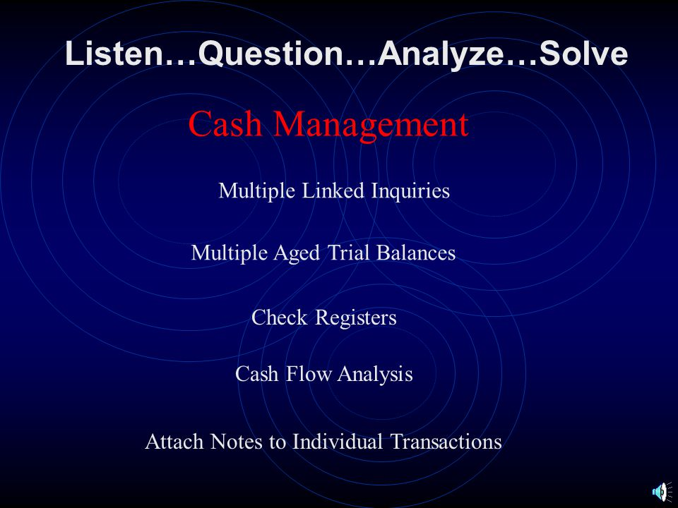 Listen…Question…Analyze…Solve Reports Claim Registers Month to Month By Examiner By Agent/Broker By Profit Center