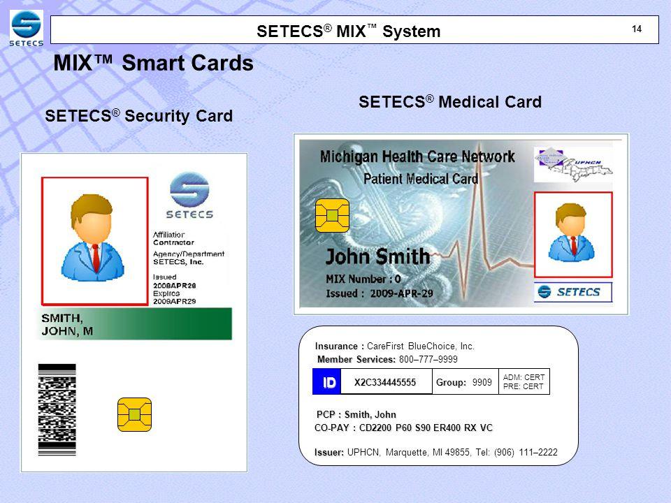 14 SETECS ® MIX ™ System SETECS ® Security Card Insurance : Insurance : CareFirst BlueChoice, Inc.