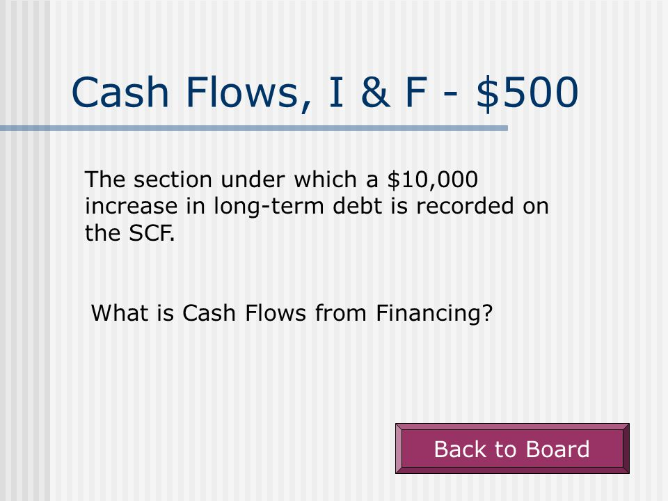Cash Flows, I & F - $400 The section under which an increase in contributed capital due to a share issuance is recorded on the SCF.