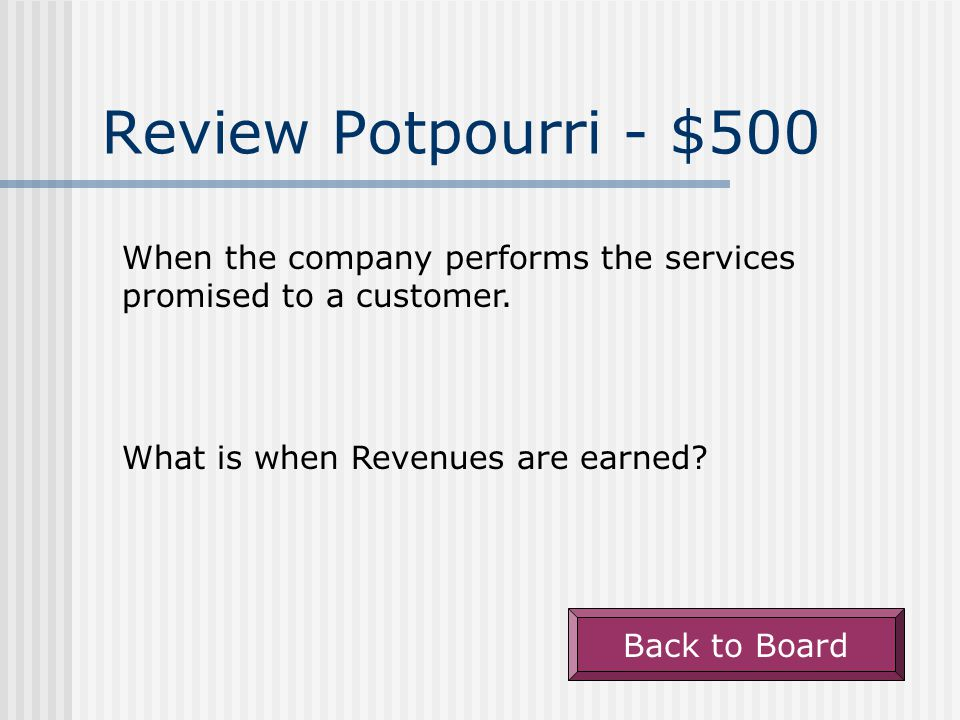 Review Potpourri - $400 Back to Board Net Sales Revenue divided by Average Net Fixed Assets.
