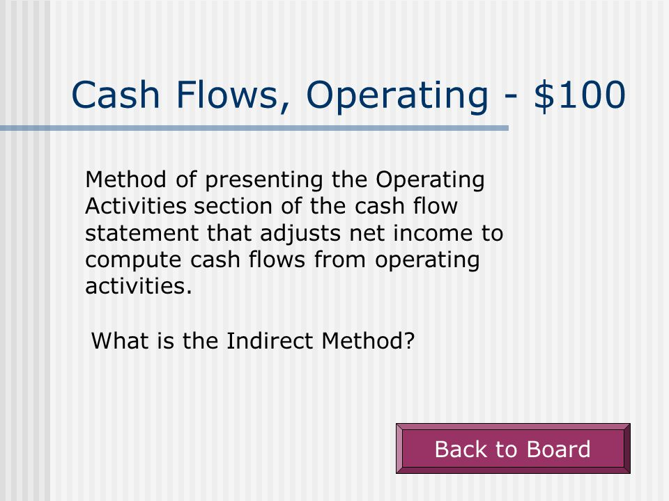 Classifying Flows - $500 The section in which a company would report an increase in accrued liabilities.