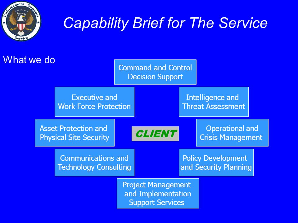 Capability Brief for The Service Command and Control Decision Support CLIENT Intelligence and Threat Assessment Operational and Crisis Management Executive and Work Force Protection Project Management and Implementation Support Services Asset Protection and Physical Site Security Policy Development and Security Planning Communications and Technology Consulting What we do