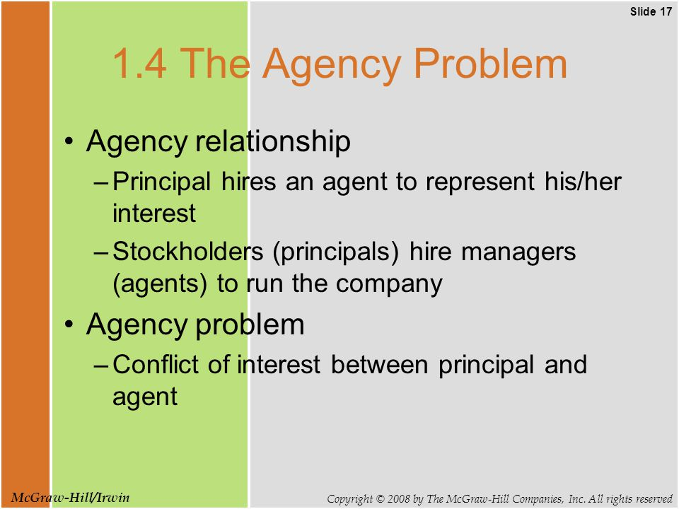 Slide 17 Copyright © 2008 by The McGraw-Hill Companies, Inc. All rights reserved McGraw-Hill/Irwin 1.4 The Agency Problem Agency relationship –Princip