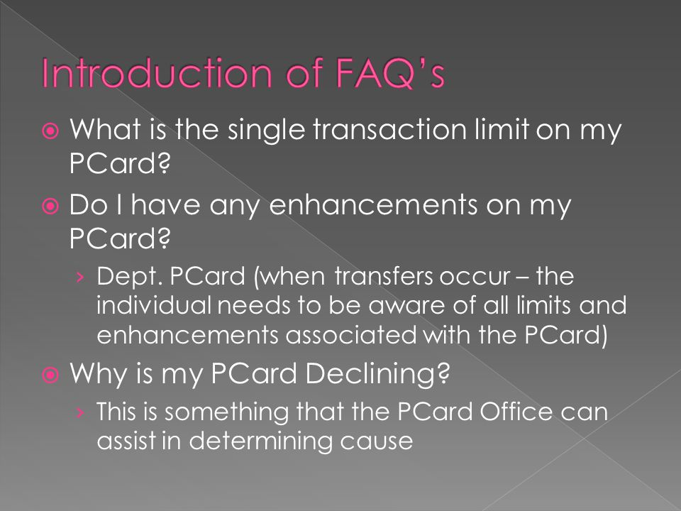  Liaison Information › Located in PCard Policy 2.1.3 Liaison › Acts as Departmental Contact for PCard Administration › Is the designated signer on all documentation including but not limited to; change forms, delete forms, transfer forms and new applications  In addition departmental program changes  Except on their own PCard, Access or Role