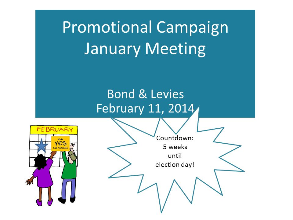 Promotional Campaign January Meeting Bond & Levies February 11, 2014 Countdown: 5 weeks until election day!