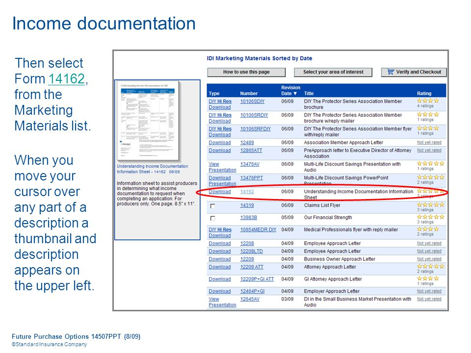 Future Purchase Options 14507PPT (8/09) ©Standard Insurance Company Income documentation Then select Form 14162, from the Marketing Materials list.14162 When you move your cursor over any part of a description a thumbnail and description appears on the upper left.