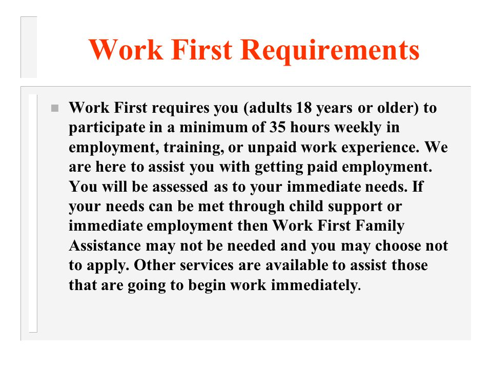 MAXIMUM WORK FIRST MONTHLY PAYMENT Family Size 12345 Monthly TANF Check (based on zero income) 181236272297324 Additional children born subject to family cap requirement will not result in an increase of monthly benefits..
