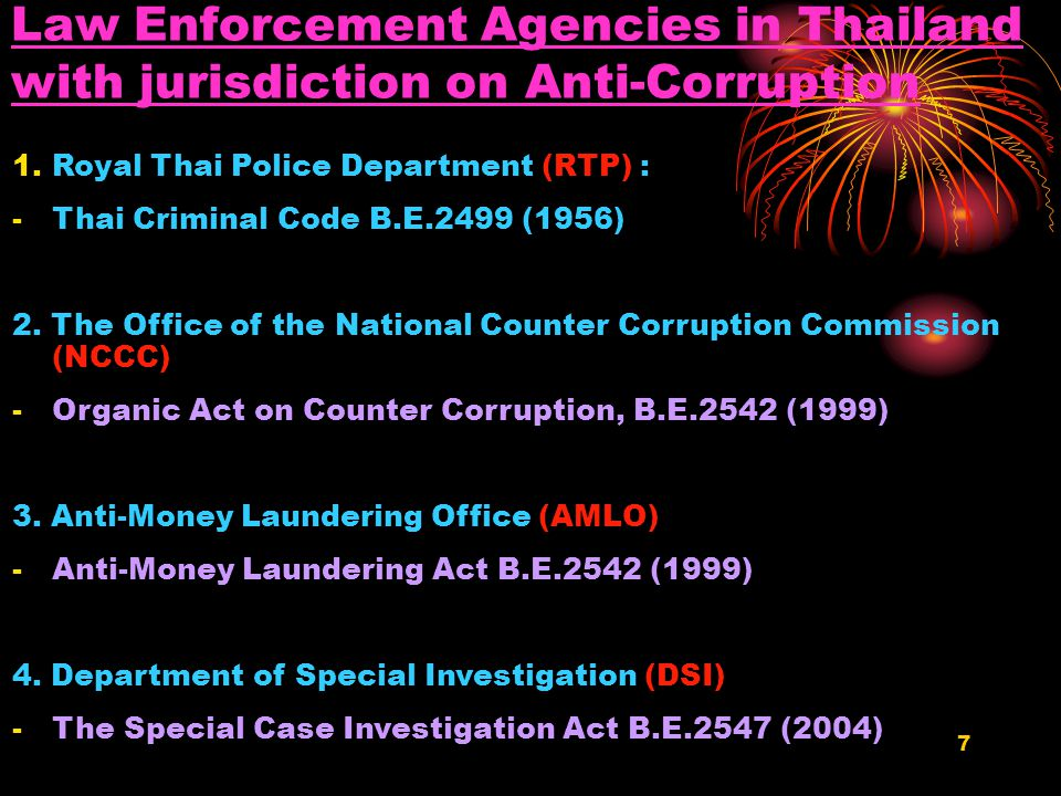 6 Political Rules on Anti-corruption in Thailand 1.Political Will: Gov't declares clear policy against all type of corruption 2.