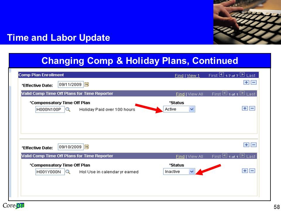58 Time and Labor Update Changing Comp & Holiday Plans, Continued
