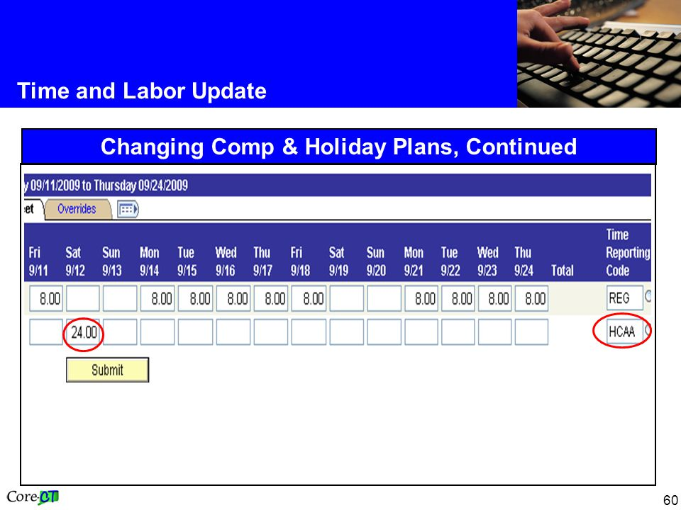 60 Time and Labor Update Changing Comp & Holiday Plans, Continued
