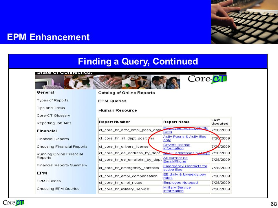 68 EPM Enhancement Finding a Query, Continued