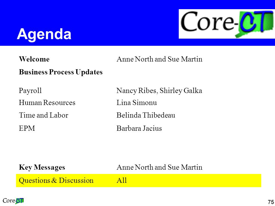 75 Agenda WelcomeAnne North and Sue Martin Business Process Updates PayrollNancy Ribes, Shirley Galka Human ResourcesLina Simonu Time and LaborBelinda Thibedeau EPMBarbara Jacius Key MessagesAnne North and Sue Martin Questions & DiscussionAll
