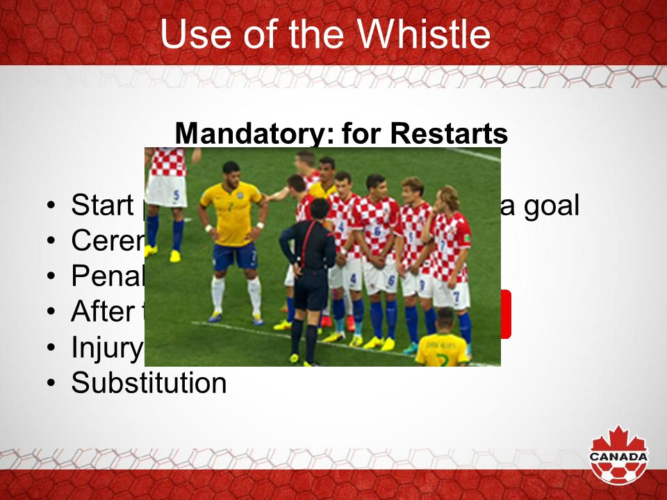 Mandatory: for Restarts Start play (1 st, 2 nd half) and after a goal Ceremonial free kicks Penalty kick After the issuance of a or Injury Substitutio