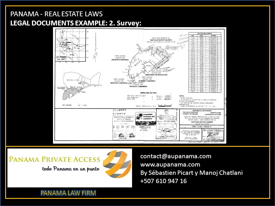 PANAMA - REAL ESTATE LAWS LEGAL DOCUMENTS EXAMPLE: 2.