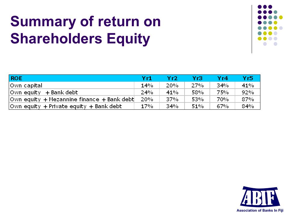 Summary of return on Shareholders Equity