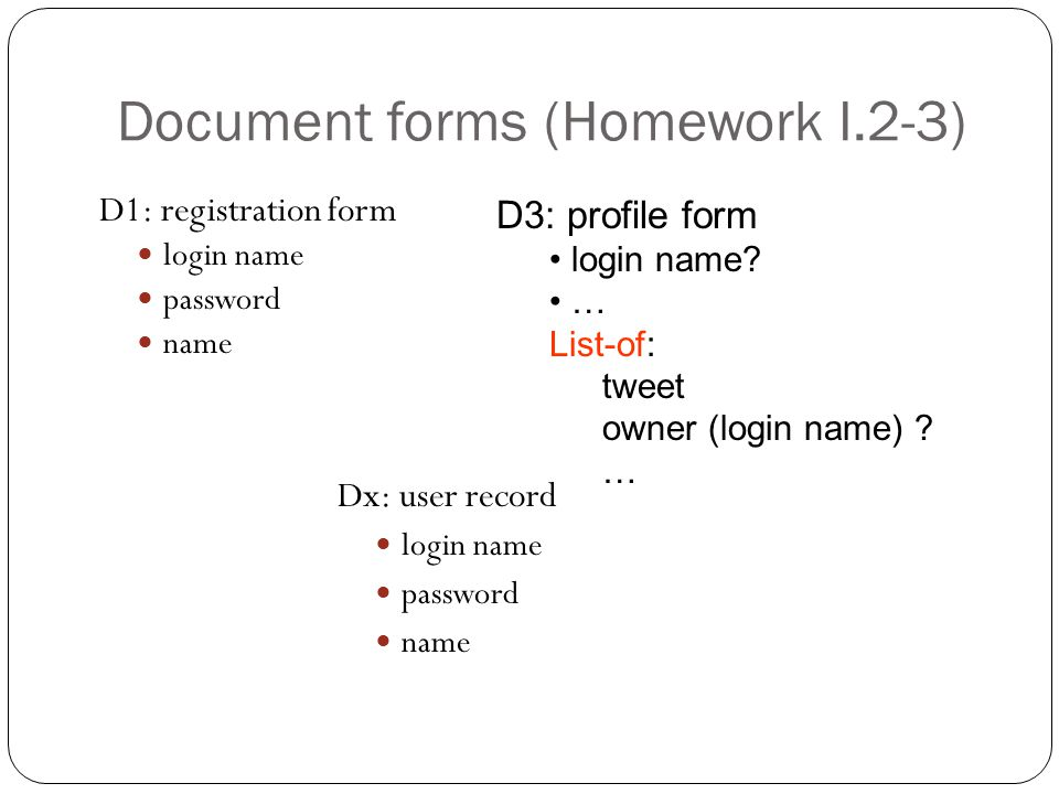 Document forms (Homework I.2-3) D1: registration form login name password name D3: profile form login name.