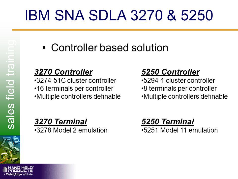 sales field training IBM SNA SDLA 3270 & 5250 Controller based solution 3270 Controller 3274-51C cluster controller 16 terminals per controller Multip