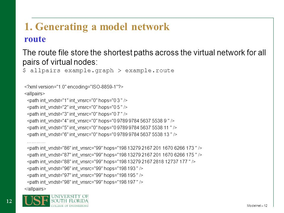 12 Modelnet – 12 1. Generating a model network route ………… The route file store the shortest paths across the virtual network for all pairs of virtual