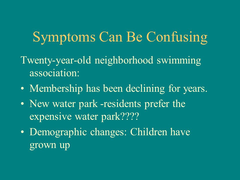 Symptoms Can Be Confusing Twenty-year-old neighborhood swimming association: Membership has been declining for years.