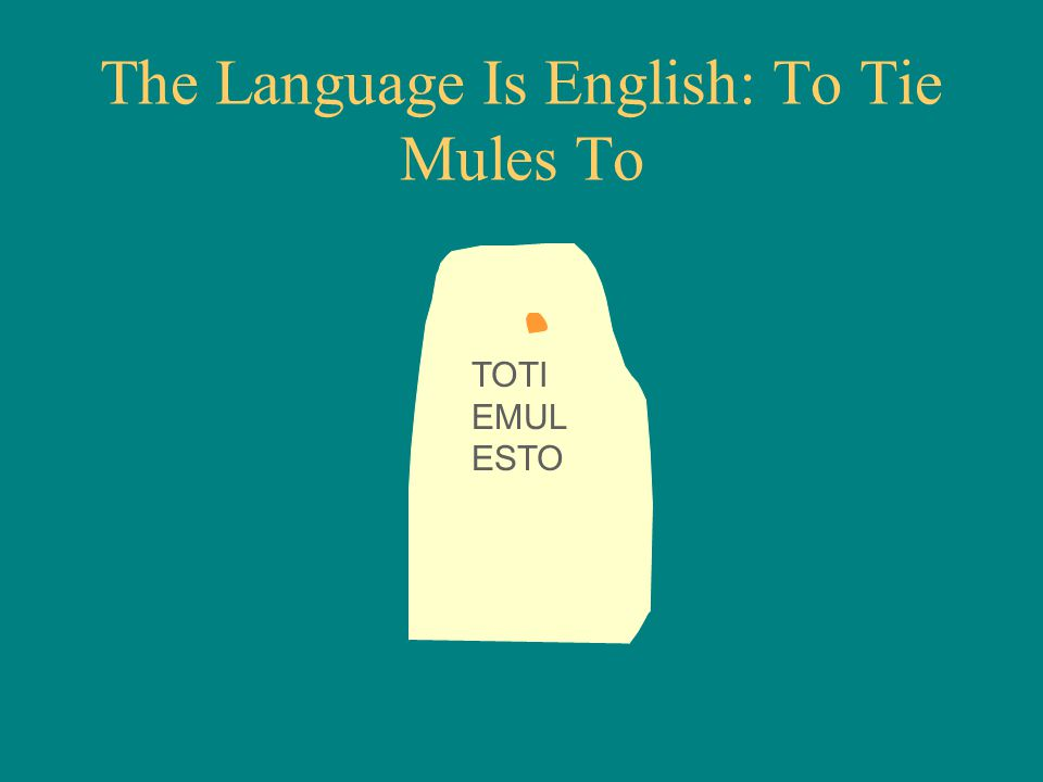 TOTI EMUL ESTO The Language Is English: To Tie Mules To