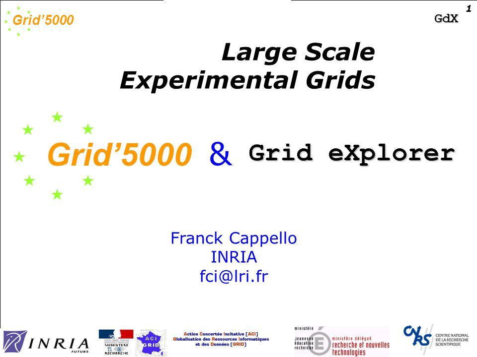 Grid'5000 GdX Grid 5000 and Grid eXplorer 12 Grid 5k + GdX Funding (ACI Grid+ ACI DM + Regional funding) Grid'5000 (ACI Grid) 0,6M€ ~0,4€ ~0,35€ ~0,5€ ~0,3?€ ~0,35€ ~3M€ for hardware only (may increase) Grid eXplorer (ACI Data Masses) Pau