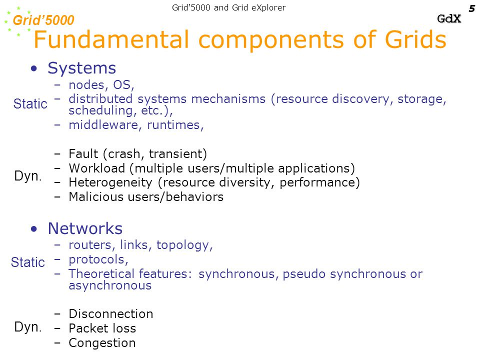 Grid'5000 GdX Grid 5000 and Grid eXplorer 16 End Host Communication layer - Intelligent Usage of NICs for local and wide area communications - Direct file access over Myrinet : ORFA/NFS and ORFA/LUSTRE High performance long distance protocols - Alternative Transport for very high speed networks (backpressure) - Differentiated transport with delay control on WAN - Reliable active and non active Multicast - Network Bandwidth optimization in Grid (VTHD++, Paco++).