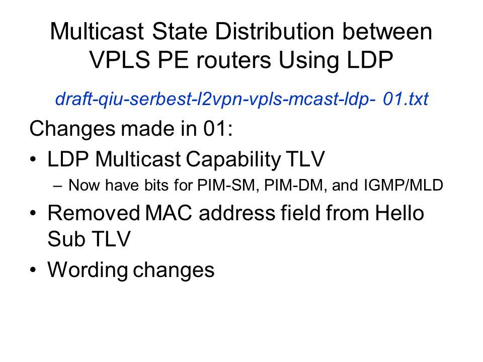 Multicast State Distribution between VPLS PE routers Using LDP draft-qiu-serbest-l2vpn-vpls-mcast-ldp- 01.txt Changes made in 01: LDP Multicast Capabi