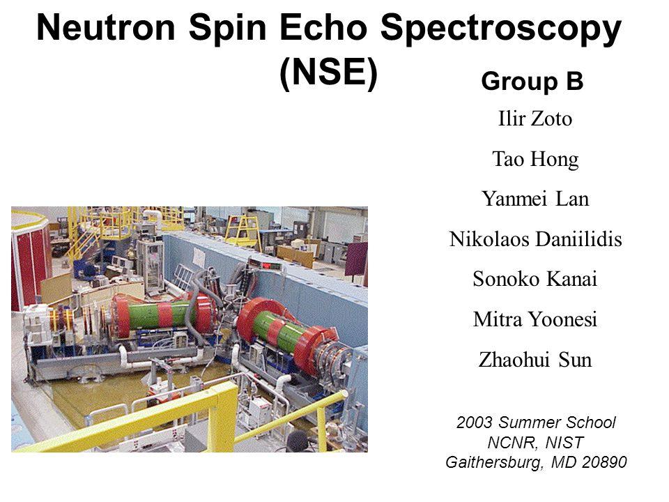 Neutron Spin Echo Spectroscopy (NSE) Group B Ilir Zoto Tao Hong Yanmei Lan Nikolaos Daniilidis Sonoko Kanai Mitra Yoonesi Zhaohui Sun 2003 Summer School NCNR, NIST Gaithersburg, MD 20890