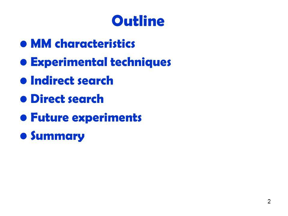 2 MM characteristics Experimental techniques Indirect search Direct search Future experiments Summary Outline
