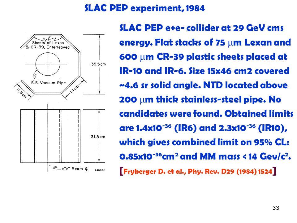 33 SLAC PEP experiment, 1984 SLAC PEP e+e- collider at 29 GeV cms energy.